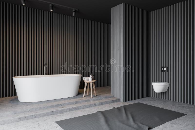 Серые деревянные угол, ушат и туалет bathroom бесплатная иллюстрация