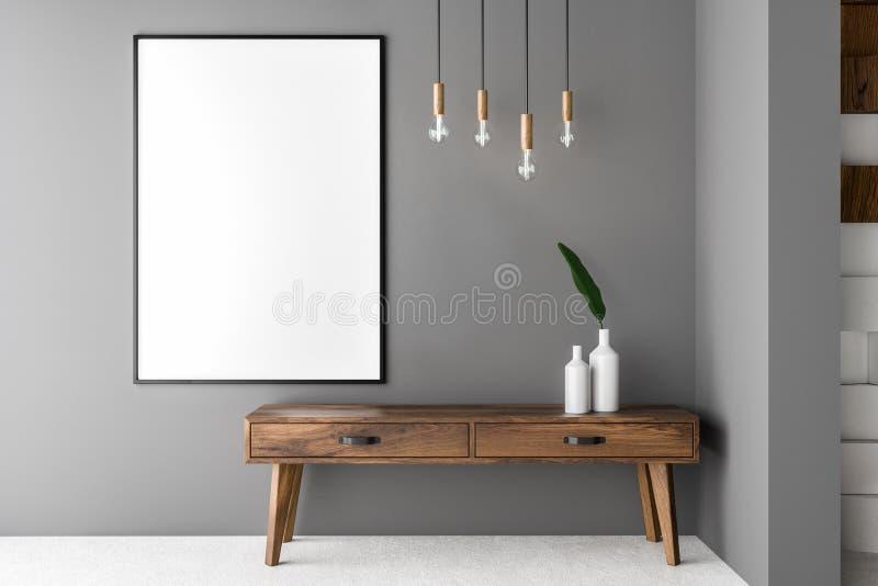 Серые живущая комната, шкаф и плакат иллюстрация вектора