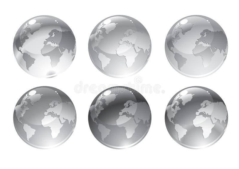 Серые иконы глобуса иллюстрация вектора