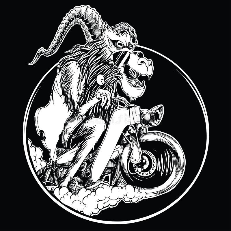 Серые иллюстрации овец используя стекла старого мотоцикла ехать стоковое изображение rf