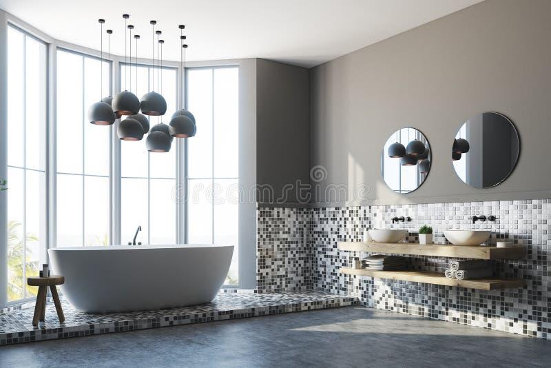 Серые интерьер ванной комнаты, ушат и раковина, сторона иллюстрация вектора