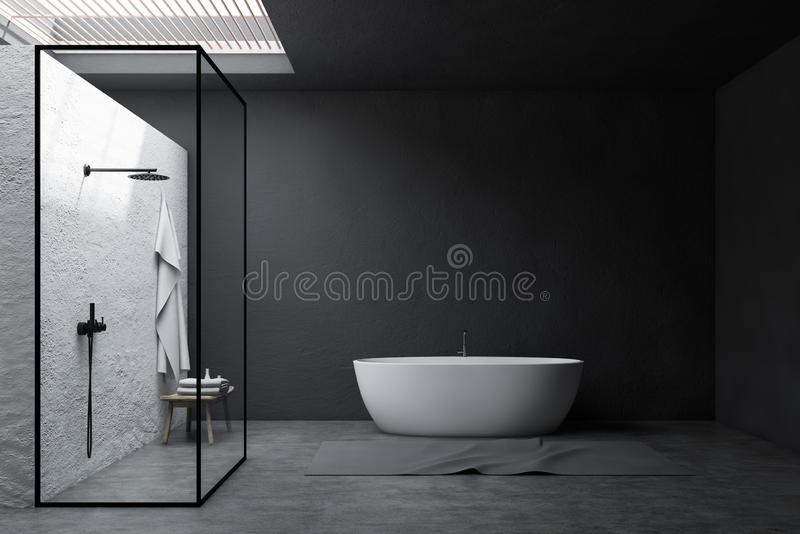 Серые интерьер, ливень и ушат bathroom бесплатная иллюстрация