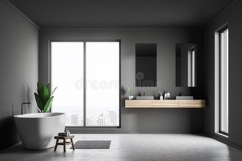 Серые интерьер, раковина и ушат bathroom иллюстрация штока