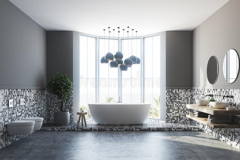 Серые интерьер, ушат и раковина ванной комнаты иллюстрация вектора
