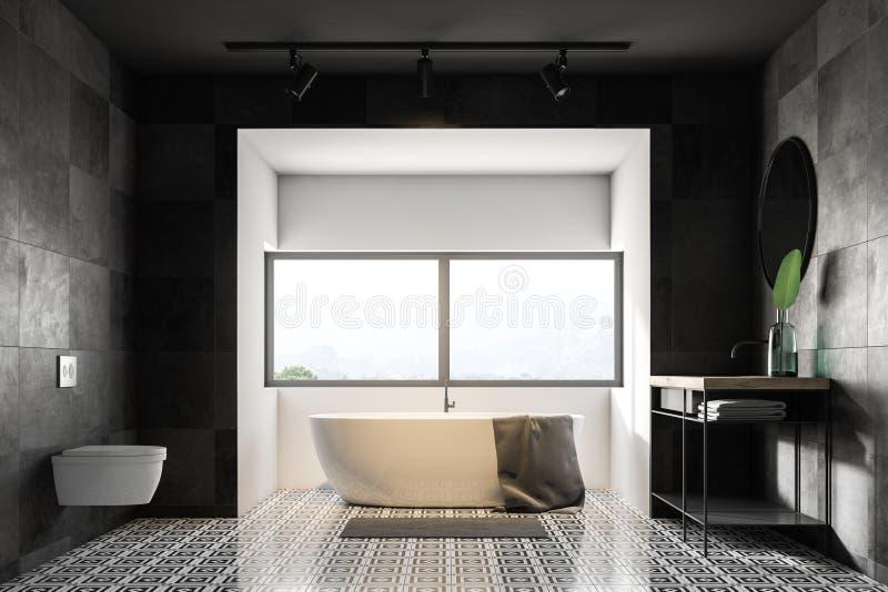 Серые интерьер, ушат и раковина ванной комнаты бесплатная иллюстрация
