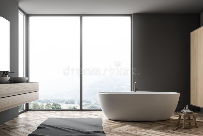 Серые интерьер, ушат и раковина ванной комнаты иллюстрация штока