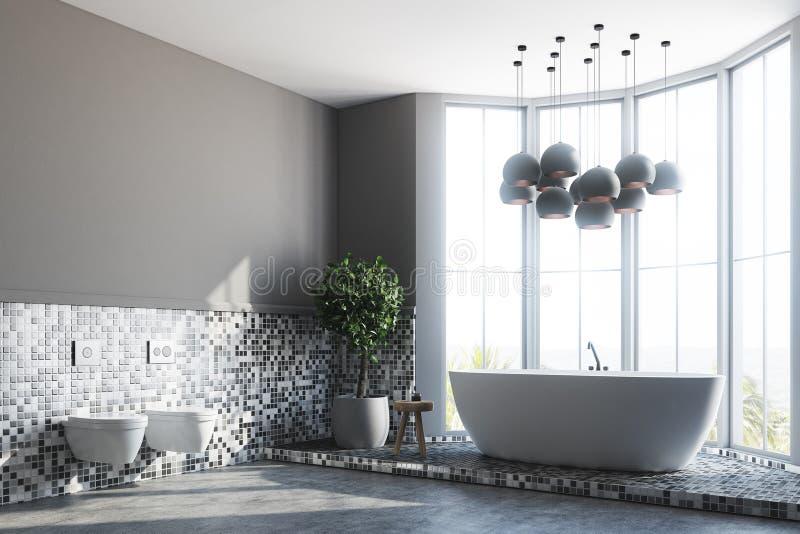 Серые интерьер, ушат и туалеты ванной комнаты иллюстрация вектора