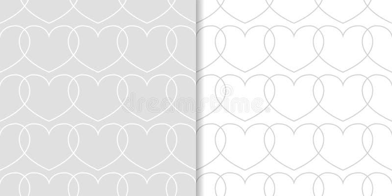 Серые и белые сердца как безшовные картины Комплект романтичных предпосылок иллюстрация штока