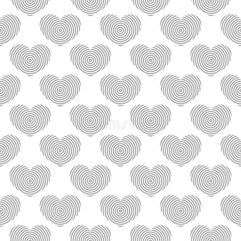 Серые и белые символы сердца как безшовная картина романтичная предпосылка иллюстрация вектора