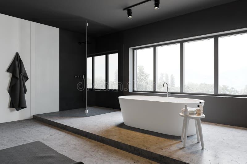 Серые и белые угол bathroom, ушат и ливень бесплатная иллюстрация