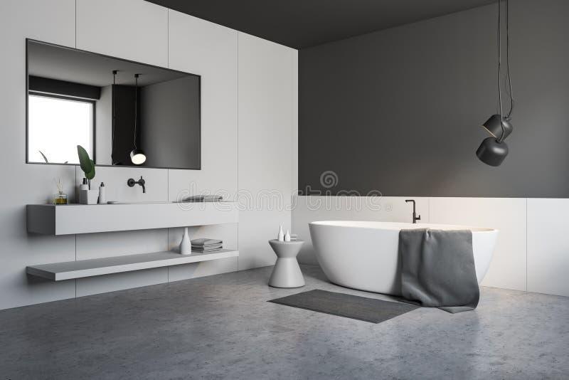 Серые и белые угол bathroom, ушат и раковина иллюстрация вектора