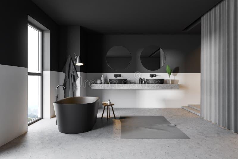 Серые и белые bathroom, ушат и раковина иллюстрация штока