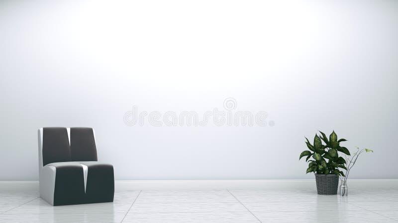 Серые кресло и завод на предпосылке белой стены пустой r иллюстрация штока