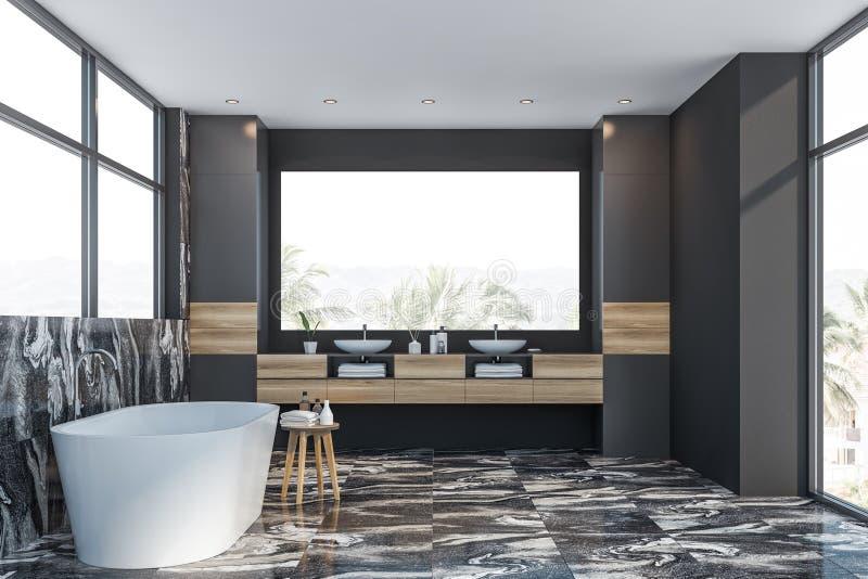 Серые мраморные интерьер, ушат и раковина bathroom иллюстрация вектора