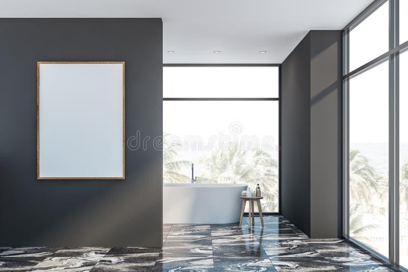 Серые мраморные bathroom, ушат и плакат пола бесплатная иллюстрация