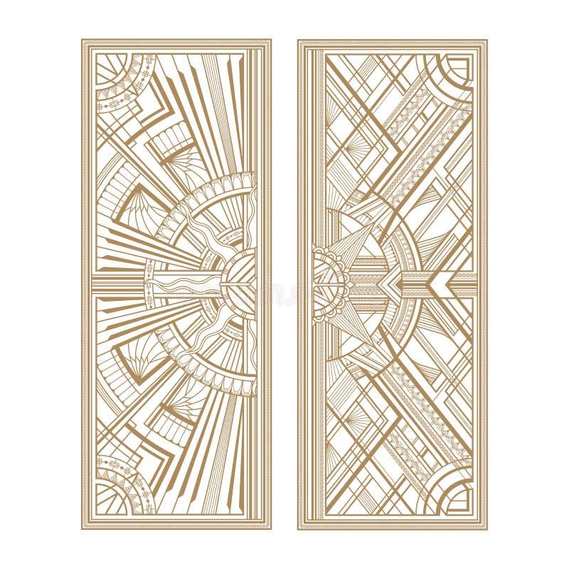 Серые панели стиля Арт Деко изолированные на белой предпосылке иллюстрация вектора