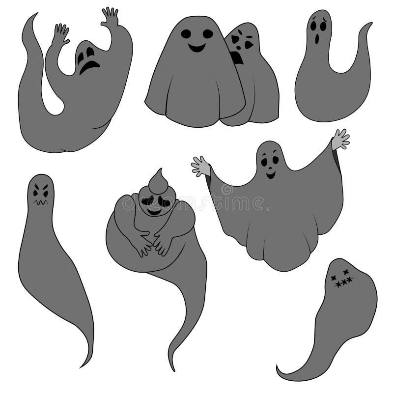 Серые призраки иллюстрация вектора