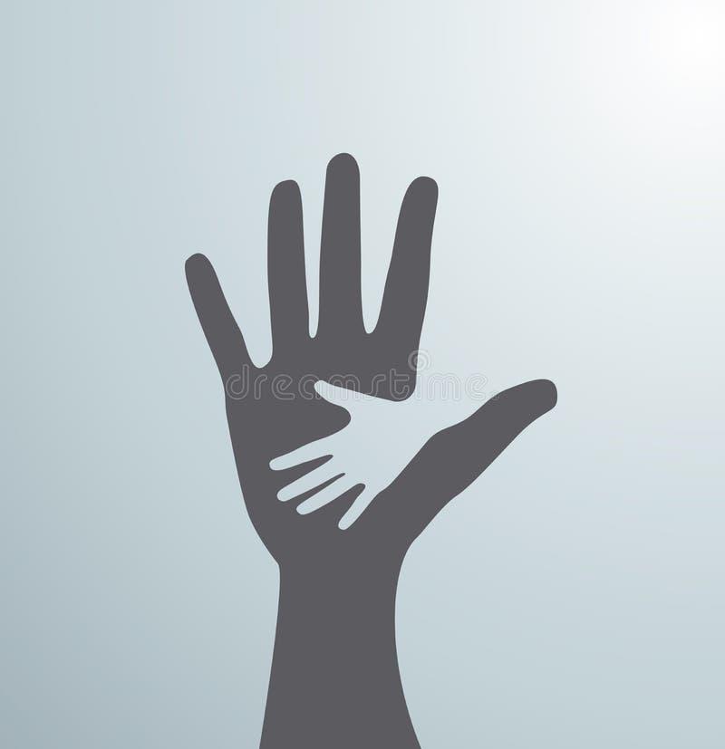 Серые руки помощи Идея знака для ассоциации заботы - рука об руку вектор стоковое фото