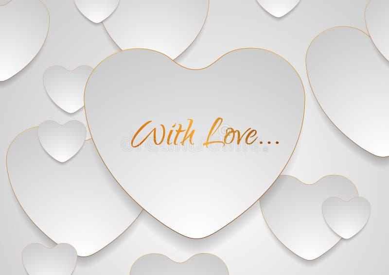 Серые серебряные сердца с золотой роскошью конспектируют предпосылку иллюстрация штока