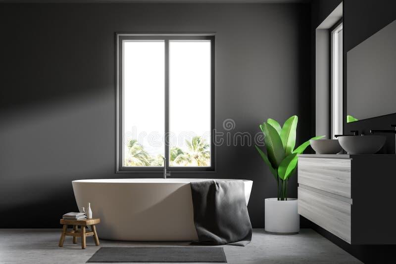 Серые скандинавские ванная комната, ушат и раковина иллюстрация штока