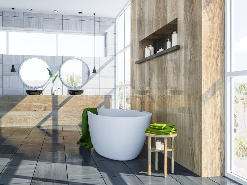 Серые скандинавские интерьер, ушат и раковина ванной комнаты бесплатная иллюстрация