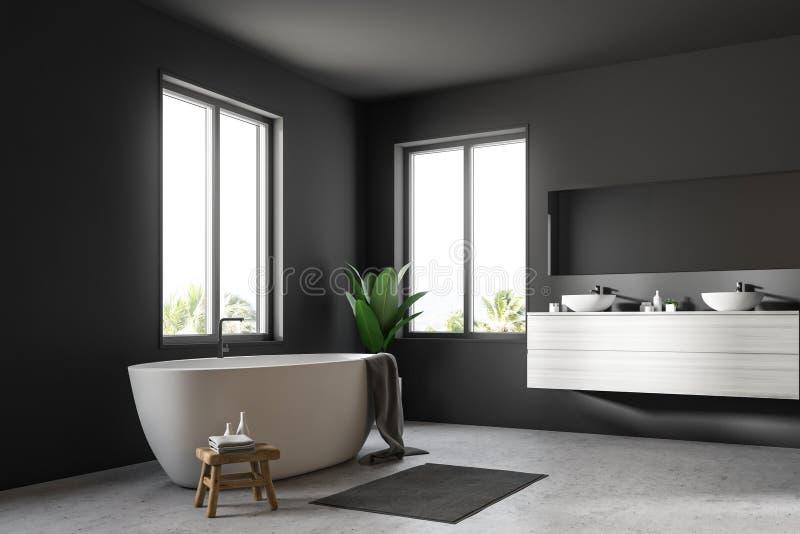 Серые скандинавские угол, ушат и раковина ванной комнаты иллюстрация вектора
