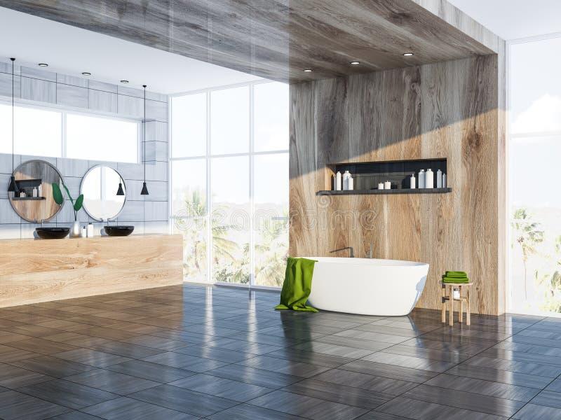 Серые скандинавские угол, ушат и раковина ванной комнаты иллюстрация штока