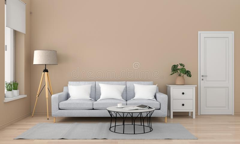 Серые софа и таблица в живя комнате, переводе 3D иллюстрация вектора