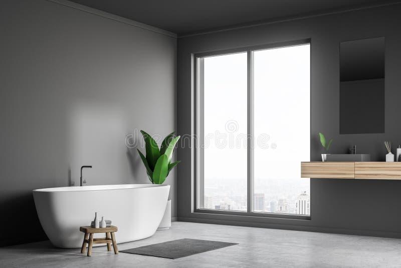 Серые угол, раковина и ушат bathroom иллюстрация штока