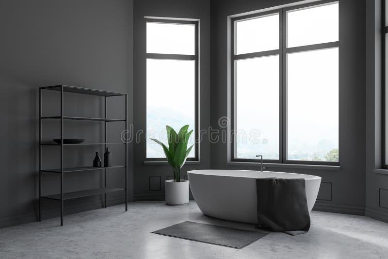 Серые угол, ушат и полки bathroom иллюстрация штока