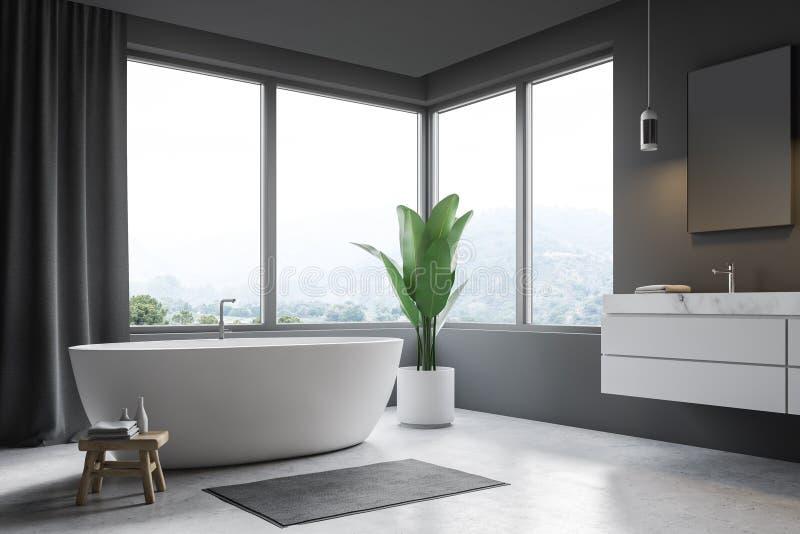 Серые угол, ушат и раковина bathroom иллюстрация вектора