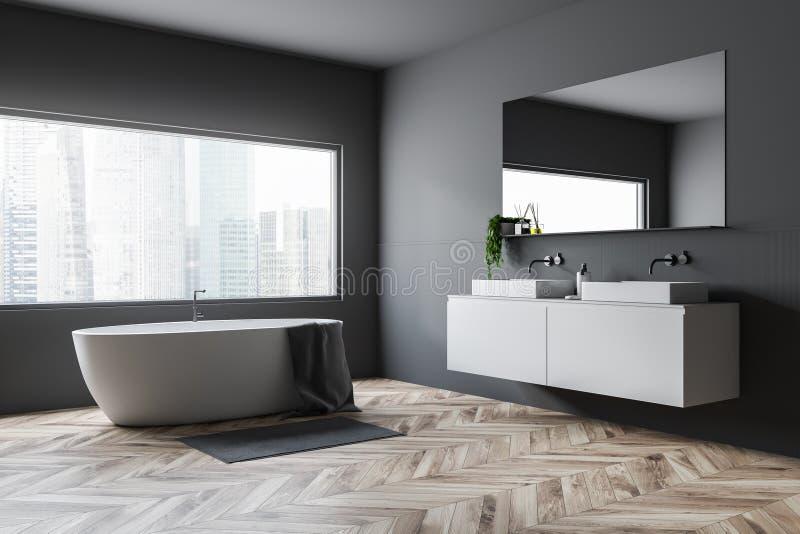 Серые угол, ушат и раковина bathroom иллюстрация штока