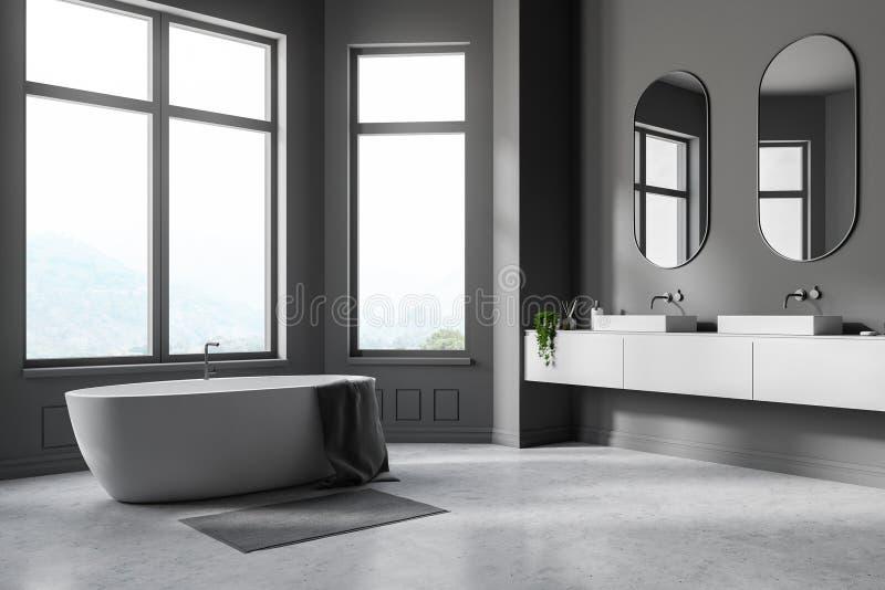 Серые угол, ушат и раковина bathroom бесплатная иллюстрация