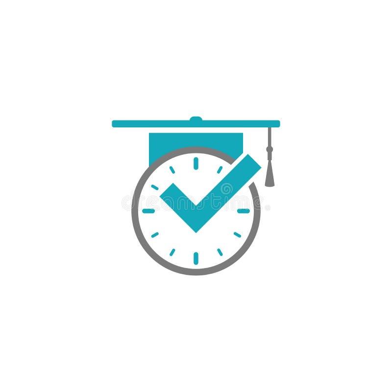 Серые часы с голубой доской тикания и крышки или миномета градации плоский значок изолированный на сини иллюстрация штока