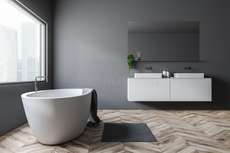 Серые bathroom, ушат и раковина, взгляд со стороны иллюстрация вектора