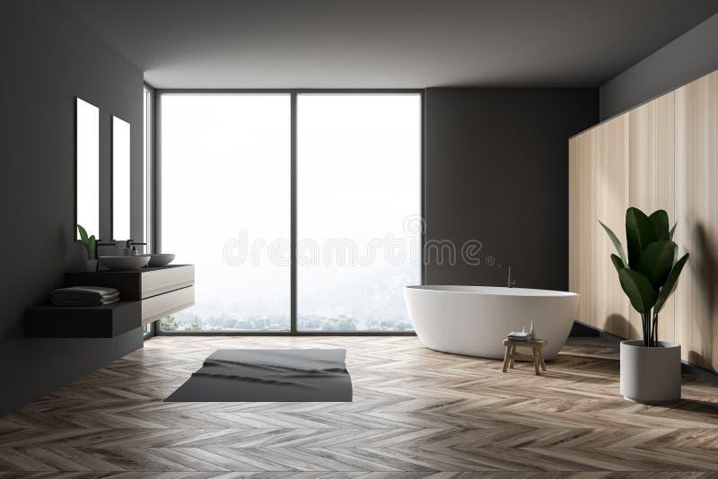 Серый большой интерьер ванной комнаты, ушат и двойная раковина иллюстрация вектора