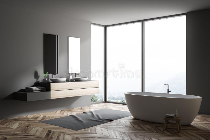 Серый большой угол ванной комнаты, ушат и двойная раковина иллюстрация вектора