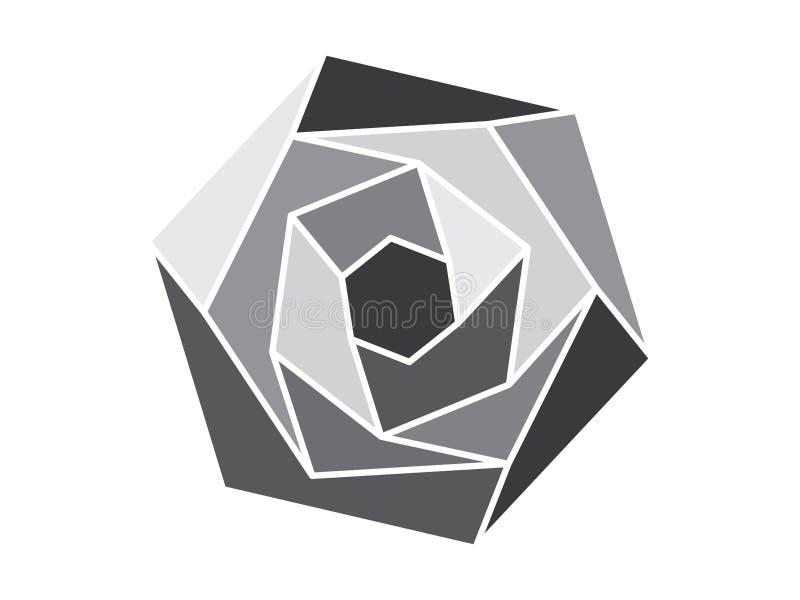 Серый геометрический цветок иллюстрация штока