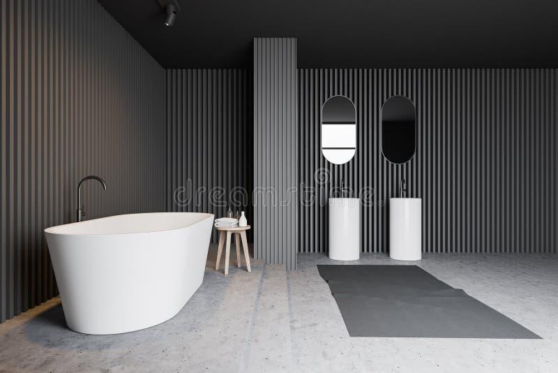 Серый деревянный интерьер bathroom, ушат и двойная раковина бесплатная иллюстрация
