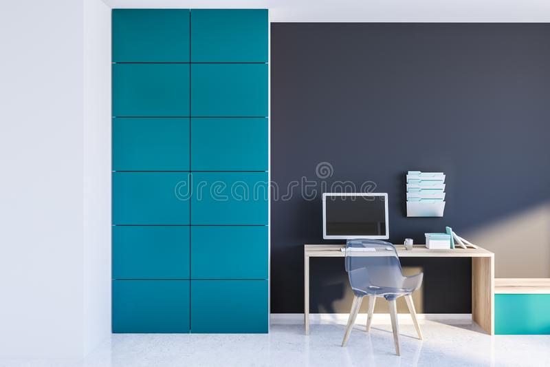 Серый домашний офис с ящиками стоковые изображения