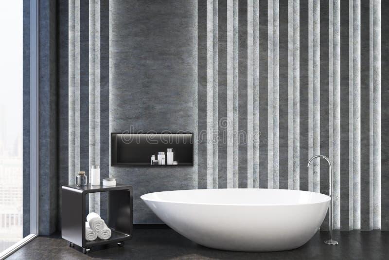Серый интерьер ванной комнаты, крупный план ниши иллюстрация вектора