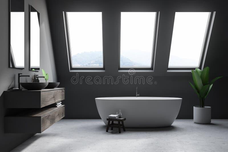 Серый интерьер ванной комнаты чердака иллюстрация вектора