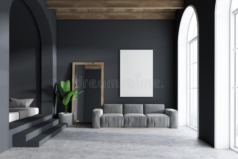 Серый интерьер, зеркало и плакат живущей комнаты иллюстрация штока