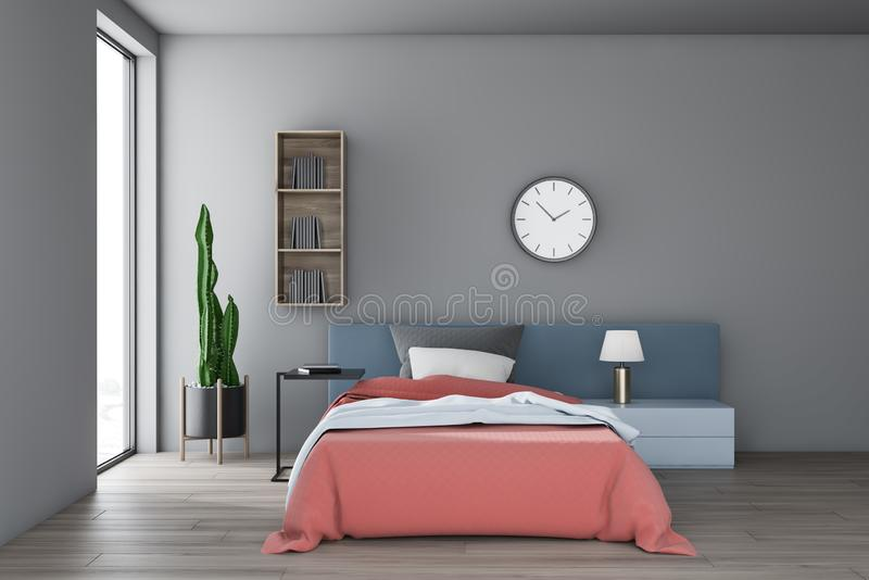 Серый интерьер спальни с полкой и часами иллюстрация вектора