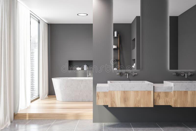 Серый интерьер bathroom, каменный ушат и раковина иллюстрация штока
