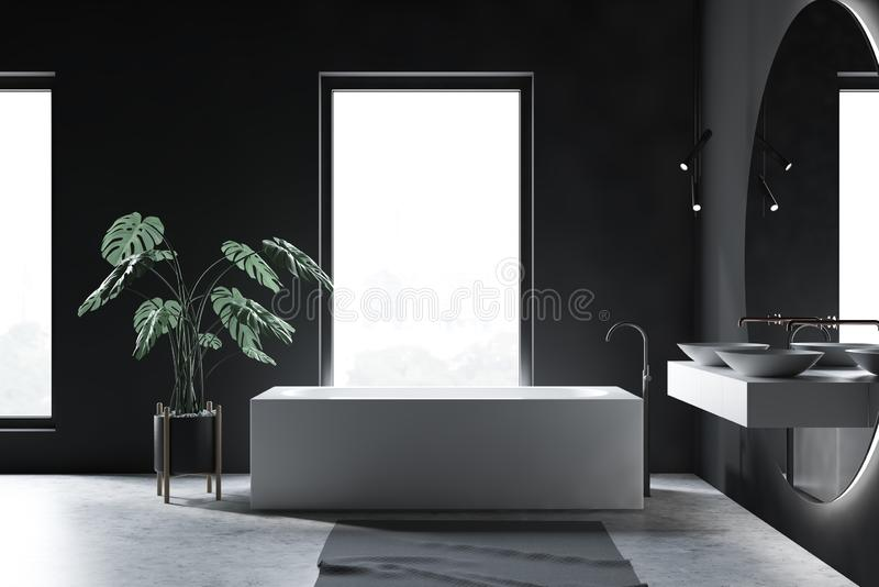 Серый интерьер bathroom просторной квартиры, ушат и двойная раковина иллюстрация вектора