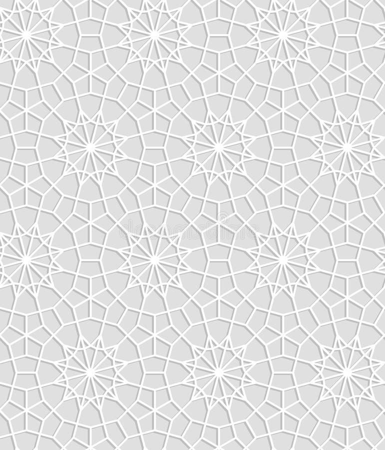 Серый и белый геометрический круг шнурка вязания крючком играет главные роли безшовная картина, вектор бесплатная иллюстрация
