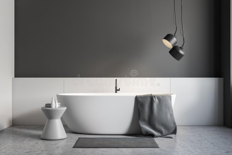 Серый и белый интерьер bathroom, белый ушат иллюстрация штока