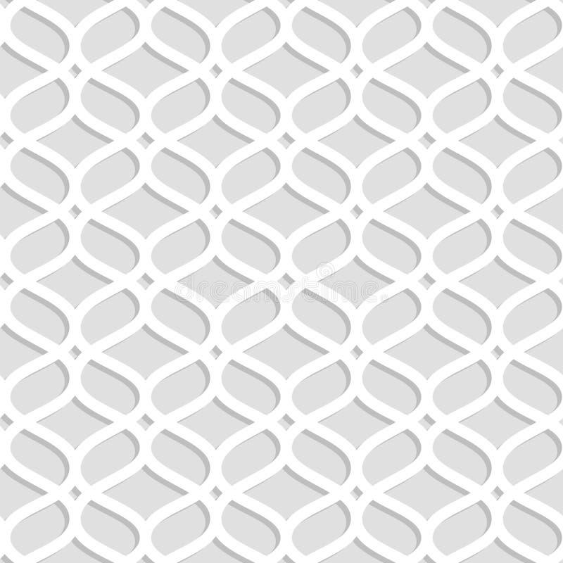 Серый и белый лазер отрезал бумажную геометрическую кружевную безшовную картину, вектор иллюстрация штока