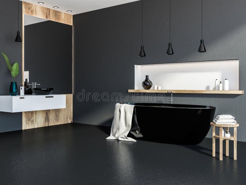 Серый и деревянный угол ванной комнаты, черный ушат бесплатная иллюстрация
